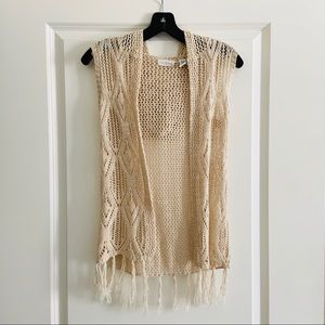 Full Tilt Cream Hoodie Knit Fringe cardigan Top M